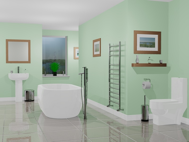 Bright colors in the bathroom interior