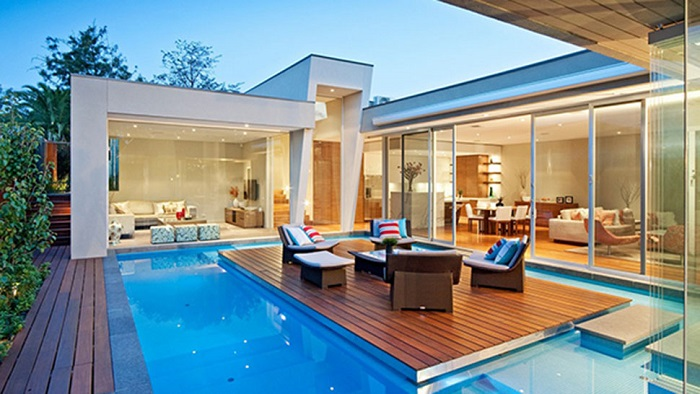 Modern houses with pool