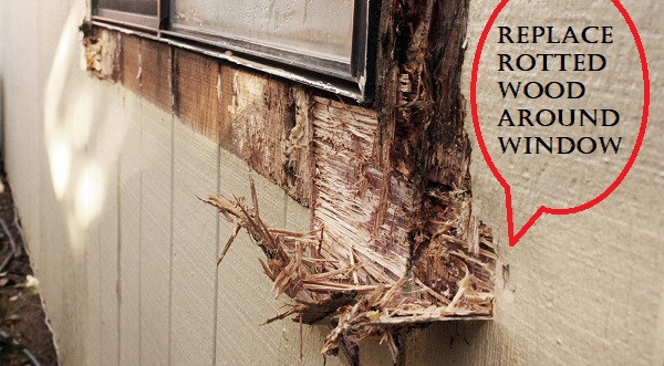 how to replace rotted wood around window